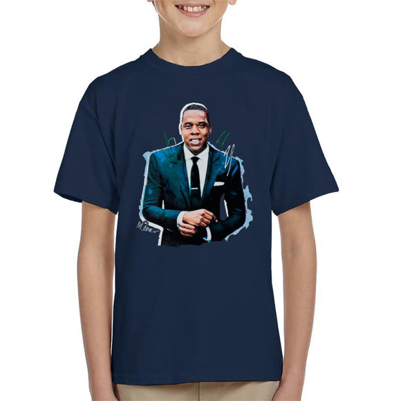 Sidney Maurer Original Portrait Of Jay Z Suit Kid's T-Shirt