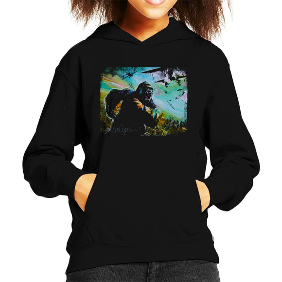 Sidney Maurer Original Portrait Of King Kong Vs Planes Kid's Hooded Sweatshirt