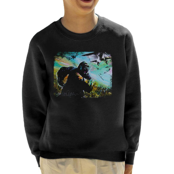 Sidney Maurer Original Portrait Of King Kong Vs Planes Kid's Sweatshirt