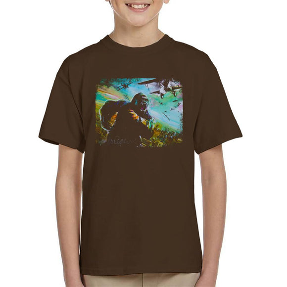 Sidney Maurer Original Portrait Of King Kong Vs Planes Kid's T-Shirt