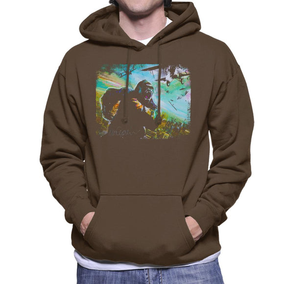 Sidney Maurer Original Portrait Of King Kong Vs Planes Men's Hooded Sweatshirt