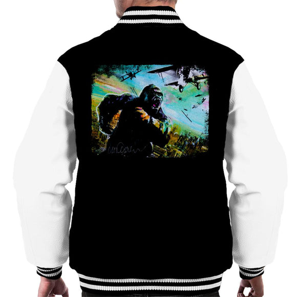 Sidney Maurer Original Portrait Of King Kong Vs Planes Men's Varsity Jacket