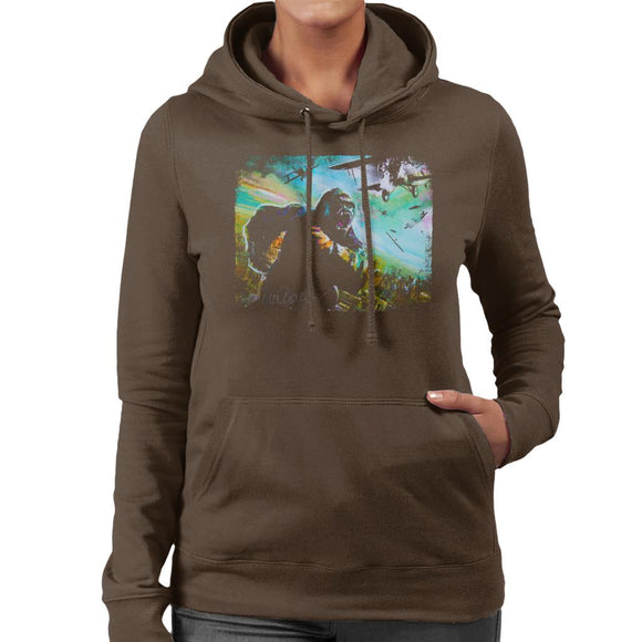 Sidney Maurer Original Portrait Of King Kong Vs Planes Women's Hooded Sweatshirt