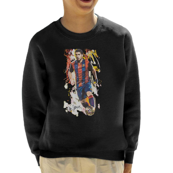 Sidney Maurer Original Portrait Of Luis Suarez Barcelona Kid's Sweatshirt