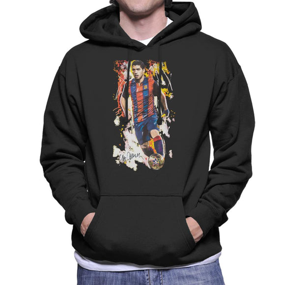 Sidney Maurer Original Portrait Of Luis Suarez Barcelona Men's Hooded Sweatshirt