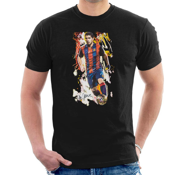 Sidney Maurer Original Portrait Of Luis Suarez Barcelona Men's T-Shirt