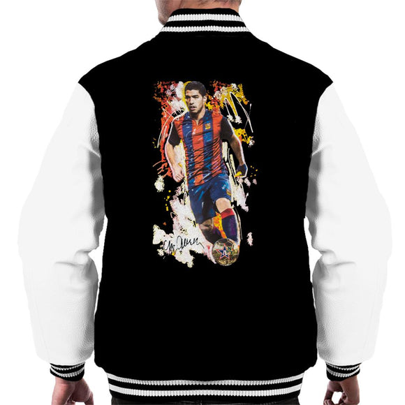 Sidney Maurer Original Portrait Of Luis Suarez Barcelona Men's Varsity Jacket