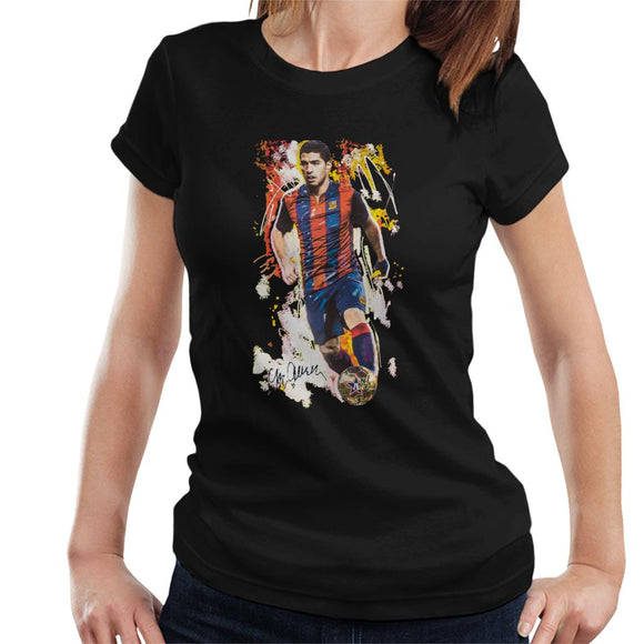 Sidney Maurer Original Portrait Of Luis Suarez Barcelona Women's T-Shirt