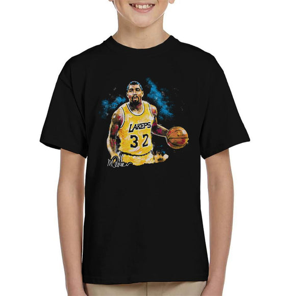 Sidney Maurer Original Portrait Of Magic Johnson Lakers Kid's T-Shirt