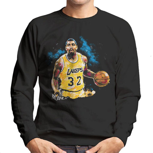 Sidney Maurer Original Portrait Of Magic Johnson Lakers Men's Sweatshirt