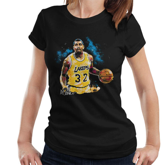 Sidney Maurer Original Portrait Of Magic Johnson Lakers Women's T-Shirt