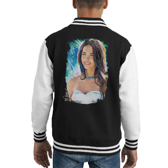 Sidney Maurer Original Portrait Of Megan Fox Kid's Varsity Jacket