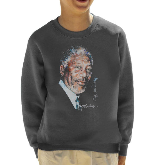 Sidney Maurer Original Portrait Of Morgan Freeman Kid's Sweatshirt