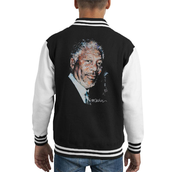 Sidney Maurer Original Portrait Of Morgan Freeman Kid's Varsity Jacket