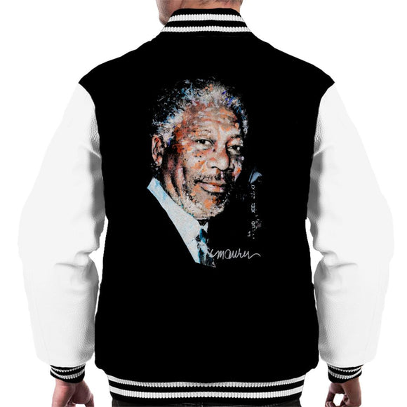 Sidney Maurer Original Portrait Of Morgan Freeman Men's Varsity Jacket
