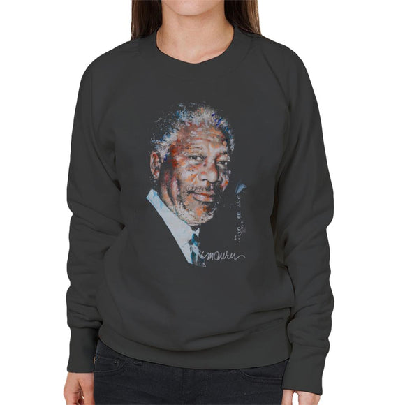 Sidney Maurer Original Portrait Of Morgan Freeman Women's Sweatshirt