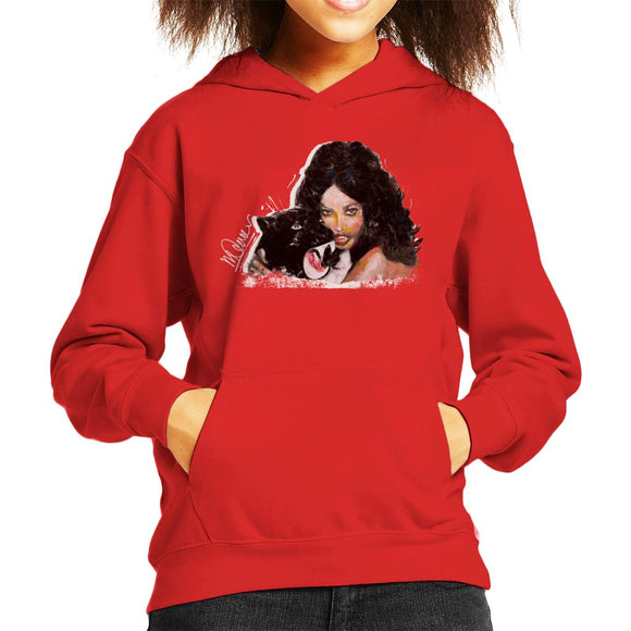 Sidney Maurer Original Portrait Of Naomi Campbell Panther Kid's Hooded Sweatshirt