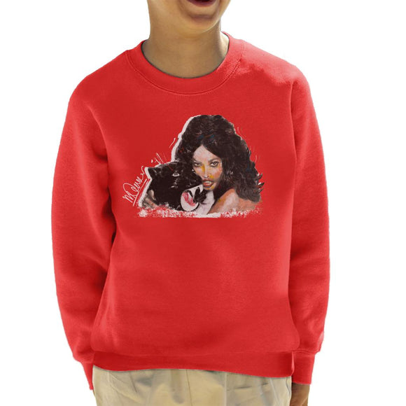 Sidney Maurer Original Portrait Of Naomi Campbell Panther Kid's Sweatshirt