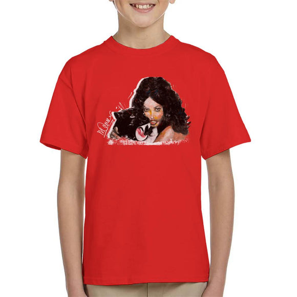 Sidney Maurer Original Portrait Of Naomi Campbell Panther Kid's T-Shirt