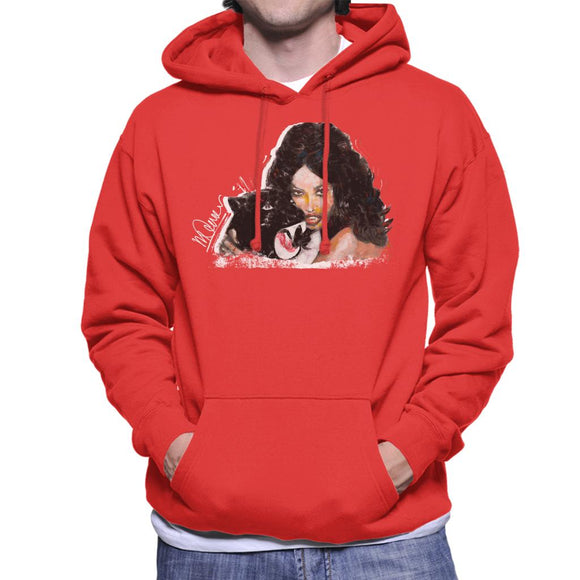 Sidney Maurer Original Portrait Of Naomi Campbell Panther Men's Hooded Sweatshirt
