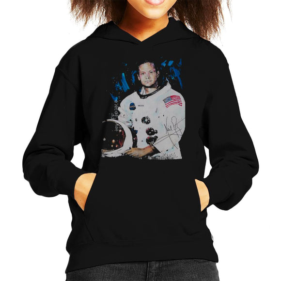 Sidney Maurer Original Portrait Of Neil Armstrong Space Suit Kid's Hooded Sweatshirt
