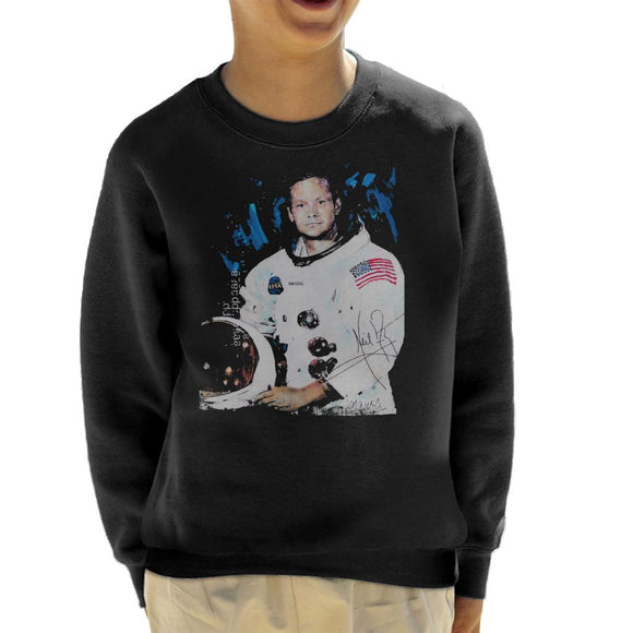 Sidney Maurer Original Portrait Of Neil Armstrong Space Suit Kid's Sweatshirt