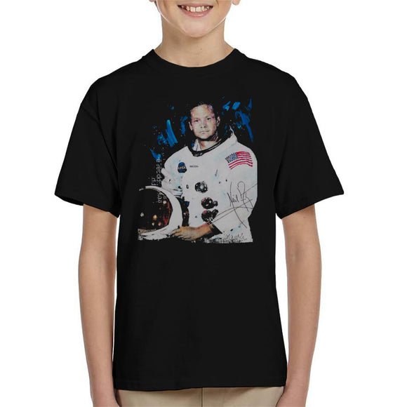 Sidney Maurer Original Portrait Of Neil Armstrong Space Suit Kid's T-Shirt