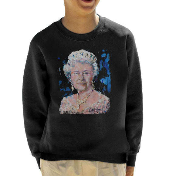 Sidney Maurer Original Portrait Of Queen Elizabeth II Kid's Sweatshirt