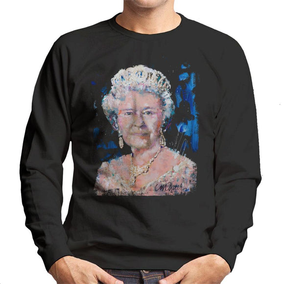 Sidney Maurer Original Portrait Of Queen Elizabeth II Men's Sweatshirt