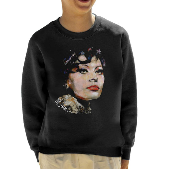 Sidney Maurer Original Portrait Of Actress Sophia Loren Kid's Sweatshirt
