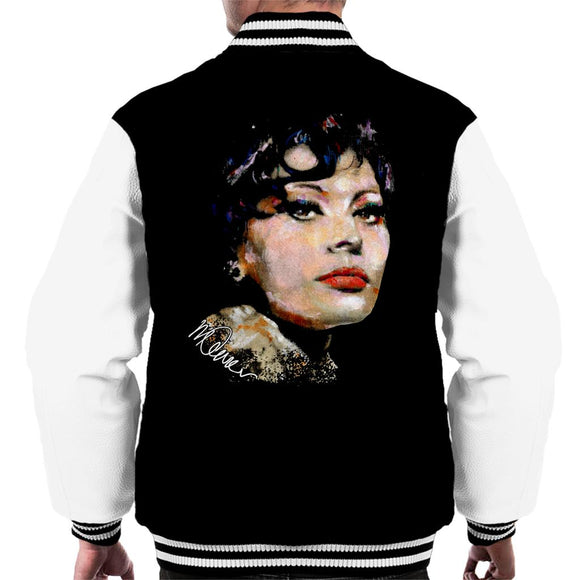 Sidney Maurer Original Portrait Of Actress Sophia Loren Men's Varsity Jacket