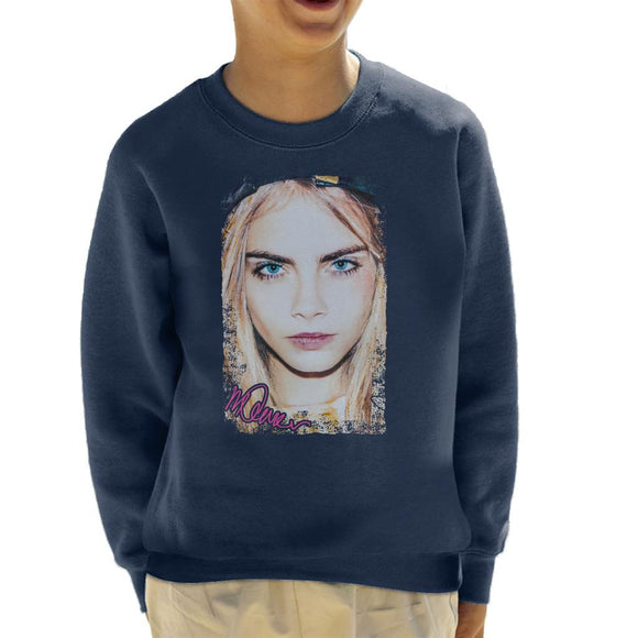 Sidney Maurer Original Portrait Of Actress Cara Delevingne Kid's Sweatshirt