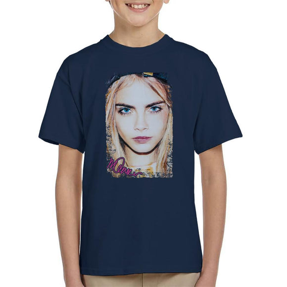 Sidney Maurer Original Portrait Of Actress Cara Delevingne Kid's T-Shirt