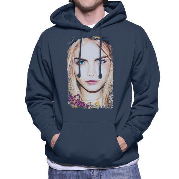 Sidney Maurer Original Portrait Of Actress Cara Delevingne Men's Hooded Sweatshirt