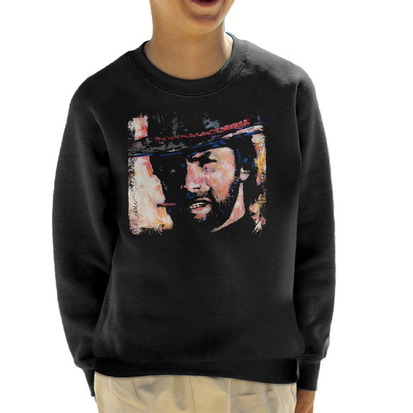 Sidney Maurer Original Portrait Of Actor Clint Eastwood Kid's Sweatshirt