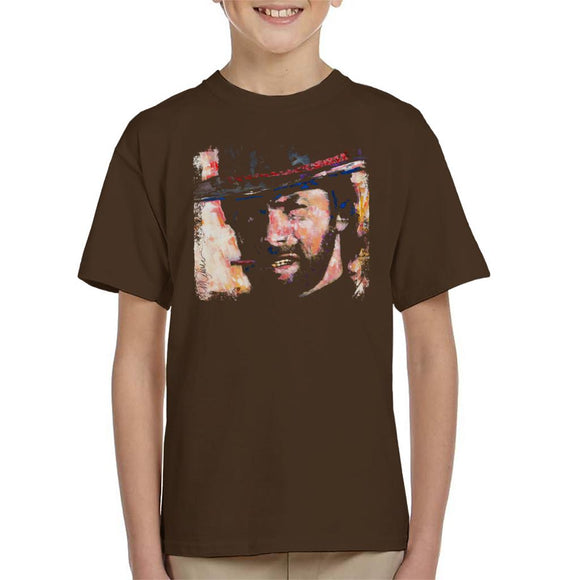 Sidney Maurer Original Portrait Of Actor Clint Eastwood Kid's T-Shirt