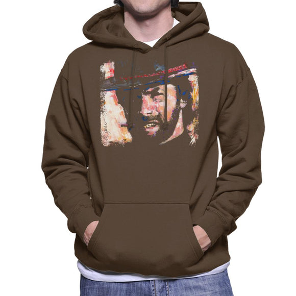 Sidney Maurer Original Portrait Of Actor Clint Eastwood Men's Hooded Sweatshirt