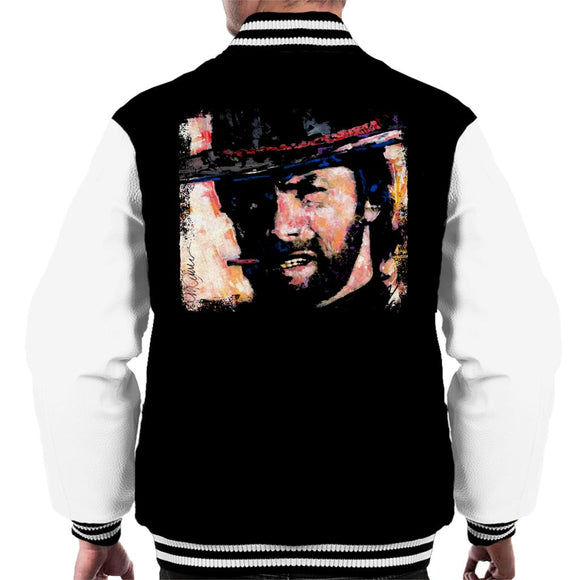 Sidney Maurer Original Portrait Of Actor Clint Eastwood Men's Varsity Jacket