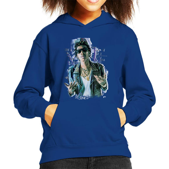 Sidney Maurer Original Portrait Of Rapper Wiz Khalifa Kid's Hooded Sweatshirt