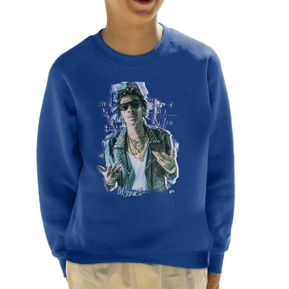 Sidney Maurer Original Portrait Of Rapper Wiz Khalifa Kid's Sweatshirt