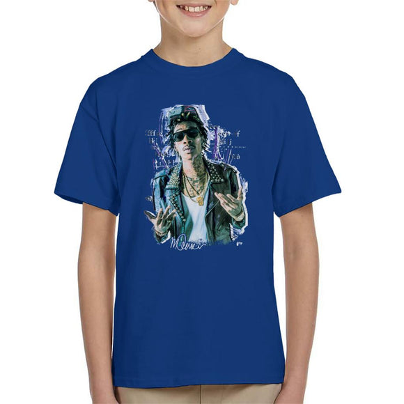 Sidney Maurer Original Portrait Of Rapper Wiz Khalifa Kid's T-Shirt