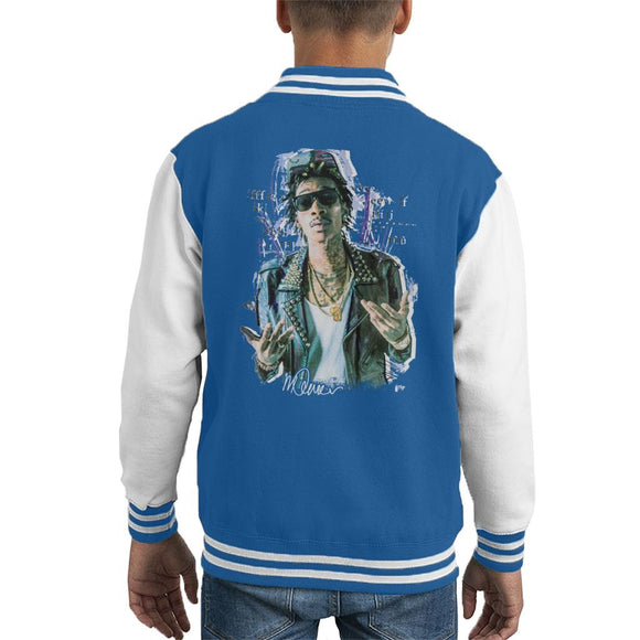 Sidney Maurer Original Portrait Of Rapper Wiz Khalifa Kid's Varsity Jacket