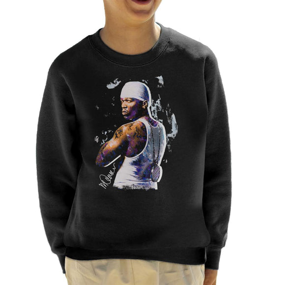 Sidney Maurer Original Portrait Of 50 Cent Bandana Kid's Sweatshirt