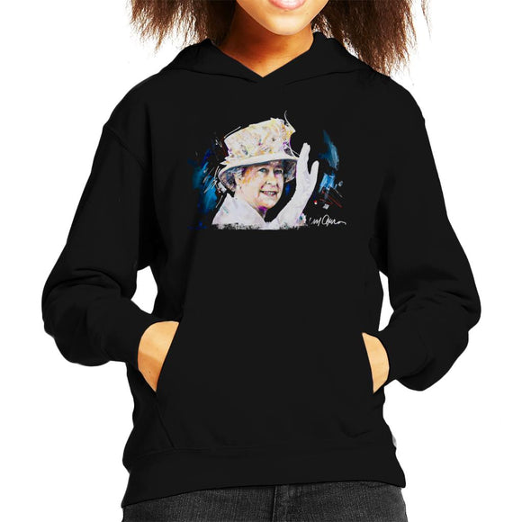 Sidney Maurer Original Portrait Of Queen Elizabeth Floral Hat Kid's Hooded Sweatshirt