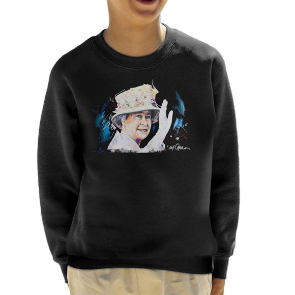 Sidney Maurer Original Portrait Of Queen Elizabeth Floral Hat Kid's Sweatshirt