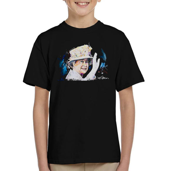 Sidney Maurer Original Portrait Of Queen Elizabeth Floral Hat Kid's T-Shirt