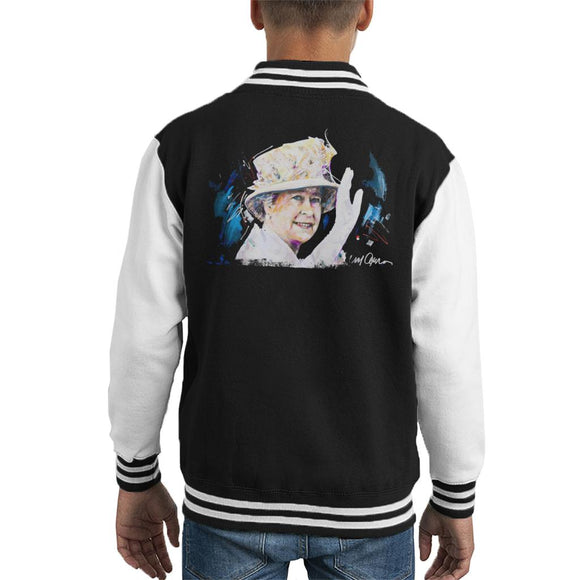 Sidney Maurer Original Portrait Of Queen Elizabeth Floral Hat Kid's Varsity Jacket