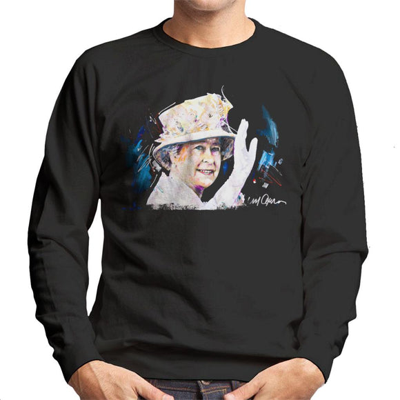 Sidney Maurer Original Portrait Of Queen Elizabeth Floral Hat Men's Sweatshirt