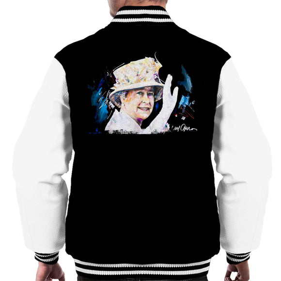 Sidney Maurer Original Portrait Of Queen Elizabeth Floral Hat Men's Varsity Jacket