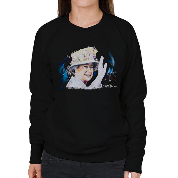 Sidney Maurer Original Portrait Of Queen Elizabeth Floral Hat Women's Sweatshirt
